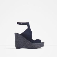 Image 1 of BOOT-STYLE LEATHER WEDGES from Zara