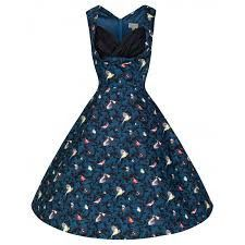 OPHELIA' CHARMING VINTAGE INSPIRED BLUE BIRD PRINT 50'S ROCKABILLY DRESS