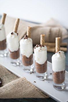 Tiramisu pudding shots made with chocolate pudding, white chocolate pudding, Kahlua and vodka! lemonsforlulu.com