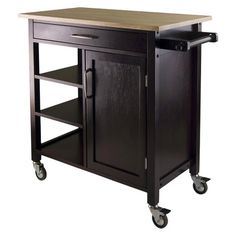 """Winsome Mali Natural Top Kitchen Cart. This cart is a little wider than the 16"""" depth I'm thinking about, but less than the 48"""" length.  At 18.5"""" depth it's about the narrowest I've seen so far. I wonder if it could be painted?"""