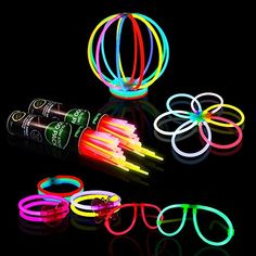 Halloween Glow in the Dark Party Supplies 200 8 Glow Sticks Party Favors Pack in Bulk With Additional 238 Connectors to Create Bracelets Necklaces Glow Balls Eyeglasses and More -- See this great product. #Toys