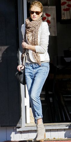 Huntington-Whiteley teamed an ivory blazer with cuffed jeans, a leopard print scarf and suede booties in West Hollywood.