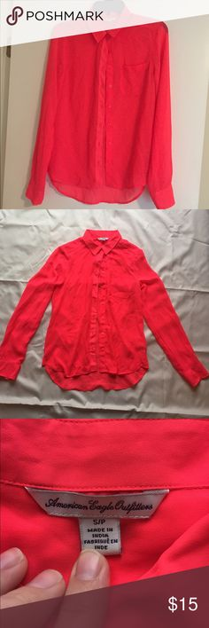 American Eagle sheer top Pink sheer American Eagle top, only worn once, small stain, barely noticeable, I haven't tried to get it out American Eagle Outfitters Tops Button Down Shirts