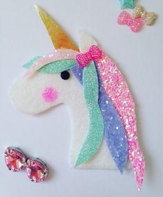 Unicorn's Dream Glitter Fabric Wool Felt Hair Clip or Headband