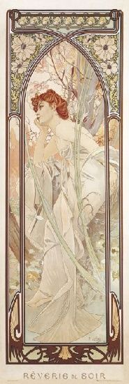 Art Nouveau illustration by Alphonse Mucha. The Times of the Day: Evening Contemplation. Mucha Art Nouveau, Alphonse Mucha Art, Art Nouveau Poster, Poster Art, Kunst Poster, Art Deco Posters, Art And Illustration, Illustrations Posters, Tattoo Posters