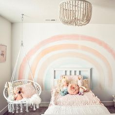 This room by is absolute perfection 😚👌🏻. That wall mural, beaded light fixture, hammock swing, and don't forget the Vintage Blush Beddy's! Honestly though, every little detail is the touch! Big Girl Bedrooms, Little Girl Rooms, Girls Bedroom, Bedroom Decor, Bedroom Ideas, Beddys Bedding, Zipper Bedding, Rainbow Room, Pink Room