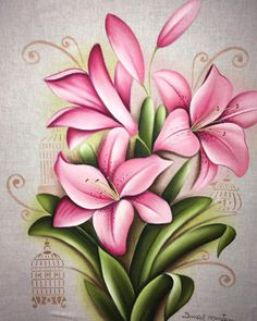 A imagem pode conter: planta Polka Dot Art, Red Orchids, Butterfly Drawing, Flamingo Art, Paper Crafts Origami, Fabric Painting, Beautiful Artwork, Flower Tattoos, Flower Art