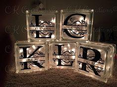 DIY Decorative Glass Blocks Step by step, how to make decorative lighted glass blocks Decorative Glass Blocks, Lighted Glass Blocks, Painted Glass Blocks, Vinyl Crafts, Vinyl Projects, Craft Projects, Craft Ideas, Wood Crafts, 31 Ideas