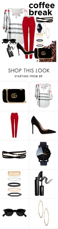 """""""coffee time in red"""" by happytabby ❤ liked on Polyvore featuring Gucci, Loewe, Gianvito Rossi, Kenneth Jay Lane, Accessorize, INIKA and Lydell NYC"""