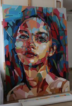Woman portrait. In progress. 180/135 cm