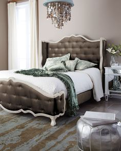 "Haute House Taupe ""Tabitha"" Tufted Bed - Horchow"