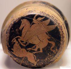 Bellérophon tuant la Chimère. Scène peinte sur lextrémité dun épinétron attique, vers 425-420 a. J-C. Musée National, Athenes.