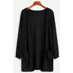 SheIn(sheinside) Black Fuzzy Cardigan With Pockets ($15) ❤ liked on Polyvore featuring tops, cardigans, sweaters, black, shirts, stretch shirt, long sleeve pocket shirts, loose fitting shirts, cardigan shirt and long sleeve polyester shirt