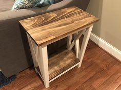 Farmhouse End Tables, Rustic End Tables, Diy End Tables, Diy Table, Narrow Side Table, Small End Tables, Coffee And End Tables, Diy Furniture Plans, Farmhouse Furniture