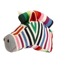 NNE-CLAIRE PETIT ZEBRA HEAD MULTI STRIPE Product:£125l W41 x D12 x H32 cms Handmade from organic cotton