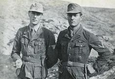 Two British Special Operations Executive agents pose in disguise as Corporals of the Feldgendarmerie before the kidnapping of a German General, 26/04/1944