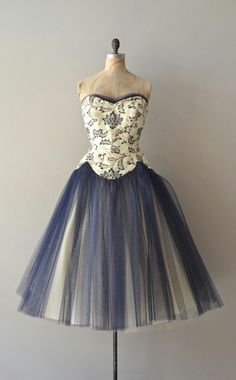 Navy tulle skirt strapless dress