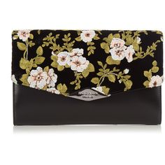 Rochas Floral-embroidered velvet and leather clutch (4,365 CNY) ❤ liked on Polyvore featuring bags, handbags, clutches, black, leather clutches, floral leather handbags, velvet purse, embroidered purse and genuine leather handbags
