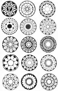 꽃 무늬 Mandala Art Lesson, Mandala Painting, Ceramic Painting, Mandala Design, Dibujos Zentangle Art, Flower Pattern Drawing, Korean Painting, Graphic Design Pattern, Circle Art