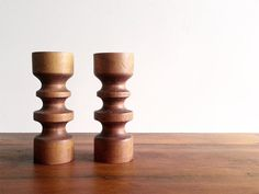 Vintage Midcentury Teak Candle Holder Set / by LadyLuciferVintage, $28.00