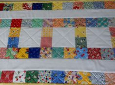 Handmade Quilted Table Runner Topper Retro by ForgetMeNotQuilteds, $38.00