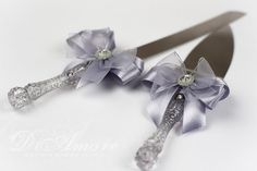 silver cake knife and server / LACE cake knife  by DiAmoreDS, $35.00