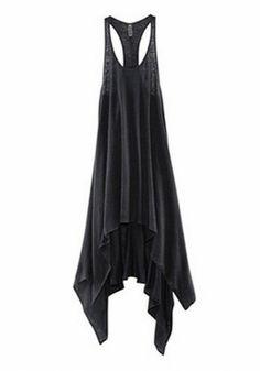 Black Plain Irregular Sleeveless Polyester High-Low Dress