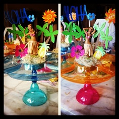 Luau centerpieces used luau cartridge from my #cricut. Tray, hula doll and margarita glass are all from dollar tree.