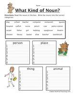 Noun Worksheet - Person, Place, Thing - Have Fun Teaching
