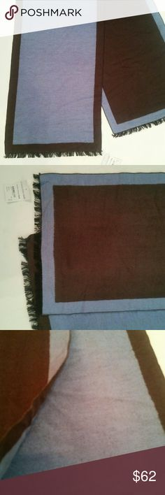 """Chelsey Silk thick blue Brown Reversible Scarf Wow, Need Soft?  Exquisite silk construction forms a wonderful scarf with bordered design.  12"""" x 70"""" with 1/2"""" fringe.  100% silk.  Dry clean.  By Chelsey; Nordstrom   While marketed as men's scarf, I Love it   Medium or Denim Blue is how with a dark brown border and black fringe. A little fuzz in the brown area.  Cushiony softer than soft material chelsey Accessories Scarves & Wraps"""