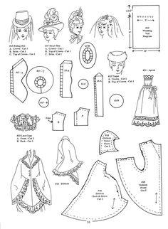 Bilderesultat for Free Printable Doll Clothes Patterns Barbie Clothes Patterns, Doll Dress Patterns, Costume Patterns, Clothing Patterns, Sewing Patterns, Hat Patterns, Vintage Patterns, Vintage Sewing, Vintage Dolls