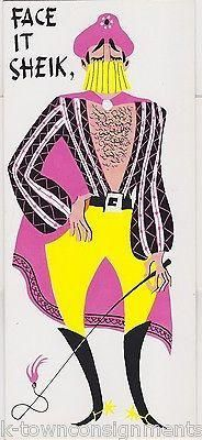 SUAVE SHEIK PINK CAPE MIDDLE EASTERN GETTING OLD HUMOR VINTAGE BIRTHDAY CARD