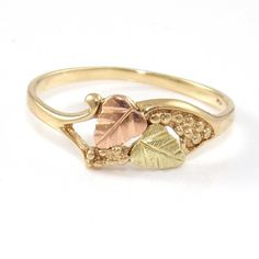 Solid 10K Yellow Gold Rose Gold Black Hills Gold Ring Size 7 #Band