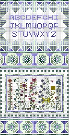 Teeny Garden Sampler - free pattern  I like the floral section best