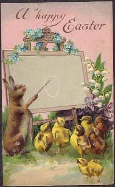 icollect247.com Online Vintage Antiques and Collectables - A Happy Easter - Postcard 1908 Paper Ephemera-Postcards and