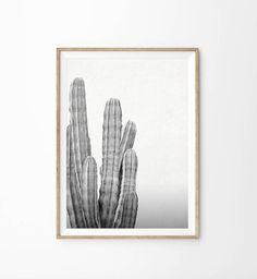 Black and White Cactus Art Print Printable Art by alphonnsine