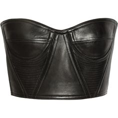Balmain Cropped underwired leather bustier (15.785 ARS) ❤ liked on Polyvore featuring tops, shirts, crop tops, bustier, black, balmain shirt, cut-out crop tops, leather crop tops, bustier crop tops and crop top