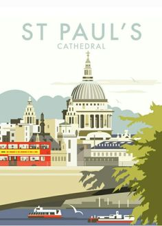 East Urban Home A stunning design of St Paul's Cathedral, London by talented artist, Dave Thompson. Thompson's art revisits a classic era of poster design, taking many elements of popular travel art, while remaining current and vibrant. Posters Uk, Railway Posters, Poster Prints, Art Prints, Party Vintage, Kunst Poster, Travel Illustration, London Art, Vintage Travel Posters