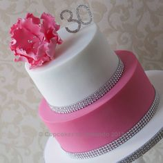 Pink & White Fantasy Flower Cake 26 Birthday Cake, 40th Cake, Birthday Cake With Flowers, Birthday Crafts, Birthday Wishes, Birthday Ideas, Bling Cakes, Fancy Cakes, Cute Cakes