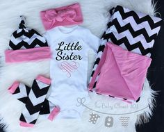 Baby Girl Coming Home Outfit Set Black and by thebabycloset101