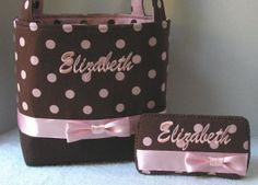 Personalized Monogrammed Brown n Pink Dots by sassygatormonograms, $93.99