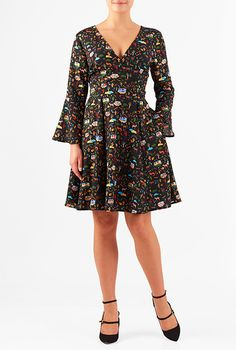 I <3 this Woodland camping print crepe bell sleeve dress from eShakti