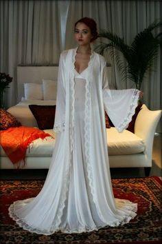 2b31e7a506 Bridal Robe Wedding Lingerie Blush Embroidered Lace Sleepwear Angel Sleeve Dressing  Gown Wedding Trousseau