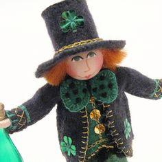 Irish Cheer Art Doll, St. Patrick's Day Leprechaun, Hand Embroidery. $40.00, via Etsy.