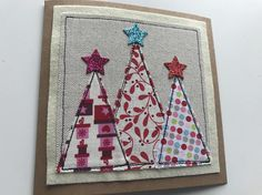 Christmas tree card Christmas card Applique Christmas card