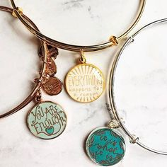 ALEX AND ANI Words Are Powerful Collection | Words are powerful, and so is jewelry with meaning. Everything happens for a reason, so pick the phrase that calls to you. | You Are Enough Charm Bangle | Everything Happens For  A Reason Charm Bangles | It Is What It Is Charm bangle