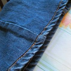 How to shorten jeans while keeping the original hem. Tutorial.