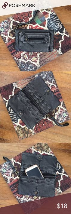 Fashion black wristlet. New without tag. Black fashion wristlet. Distressed look. Great accessory for your outfit! Plenty of pockets. Bags Clutches & Wristlets