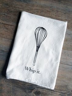 Whip It  Screen Printed Cotton Flour Sack by TheCoinLaundry, $9.00