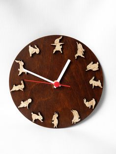 Wooden clock with yoga bunnies, Christmas gift idea for kids, Decor for childrens room by MustHaveGift on Etsy https://www.etsy.com/listing/232874436/wooden-clock-with-yoga-bunnies-christmas